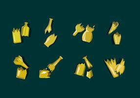 Bouteille jaune cassé vecteur gratuit