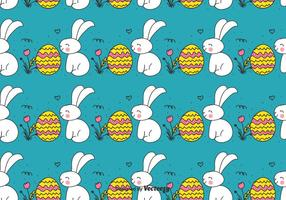 Doodle lapin de Pâques et le modèle d'oeuf vecteur