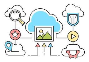 Éléments de réseau cloud linéaire gratuit vecteur
