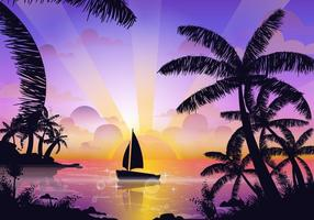 Scène de Tropical Playa vecteur