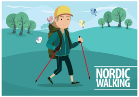 Vecteur Homme Nordic Walking gratuit