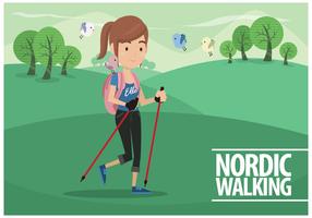 Vector Femme Nordic Walking gratuit