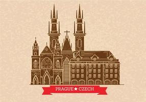 Prague Skyline Illustration sur Letterpress style vecteur