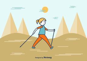 Cartoon Vector Nordic Walking