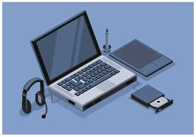 Isométriques vecteurs ordinateur gratuit vecteur