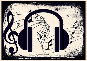 Illustration grunge musique casque vecteur