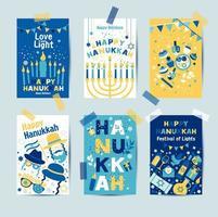 ensemble de couleurs six cartes de voeux de Hanoukka