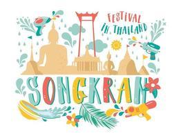 bannière du festival songkran vecteur
