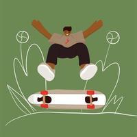 patineur élégant en jeans et baskets vecteur