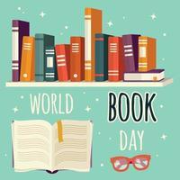 journée mondiale du livre, livres sur étagère