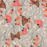 modèle sans couture traditionnel avec des papillons monarques vecteur