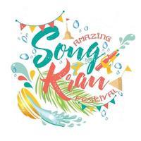 incroyable festival de songkran en thaïlande vecteur