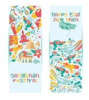 ensemble de bannière de nouvel an thaïlande vecteur