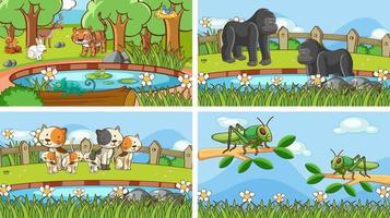 scènes de fond d'animaux à l'état sauvage vecteur