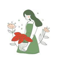 fille avec fleur rouge vecteur