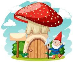 gnomes et style de dessin animé de champignon