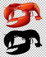 homard rouge et sa silhouette sur fond transparent