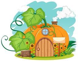 maison de citrouille avec style de dessin animé de tournesol sur fond de ciel