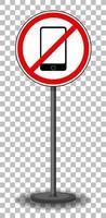 aucun signe de téléphone avec support isolé sur fond transparent