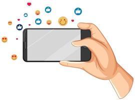 téléphone intelligent avec thème d'icône facebook de médias sociaux isolé sur fond blanc