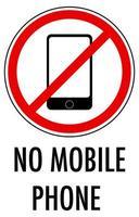 Aucun signe de téléphone mobile isolé sur fond blanc