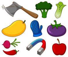 grand ensemble de différents aliments et autres articles sur fond blanc