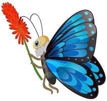 papillon tenant une fleur sur fond blanc