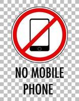 aucun signe de téléphone mobile isolé sur fond transparent