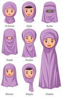 types de voiles traditionnels islamiques de femmes en style cartoon
