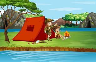 scène avec des enfants campant au bord de la rivière vecteur