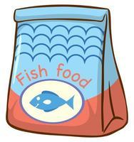 sac de nourriture pour poisson sur fond blanc