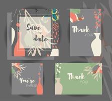 modèles de cartes d'invitation de mariage vecteur