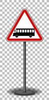 signe de bus avec support isolé sur fond transparent