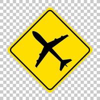 panneau d'avertissement de trafic jaune sur fond transparent vecteur