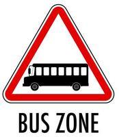 signe de zone de bus isolé sur fond blanc