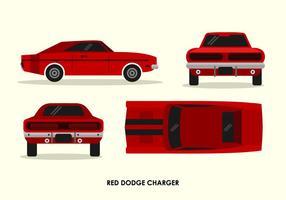 Dodge Charger Red Vintage face Retour Haut Vue latérale Illustration Vecteur