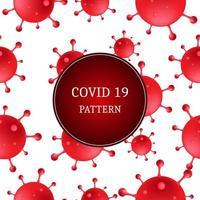 modèle sans couture de cellules 3d rouge covid-19