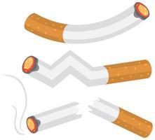 ensemble de cigarettes allumées vecteur