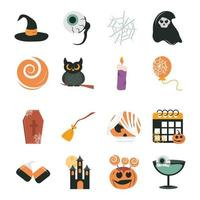 jeu d'icônes plat célébration halloween