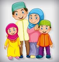 famille musulmane isolée sur blanc