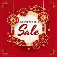 affiche de vente de vacances de nouvel an chinois vecteur