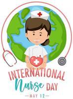 logo de la journée internationale des infirmières avec une infirmière mignonne vecteur