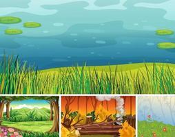 quatre scènes de la nature différentes vecteur