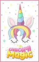 logo magique de licorne de couleur pastel vecteur