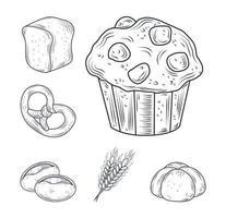 jeu d'icônes de nourriture cuite rétro