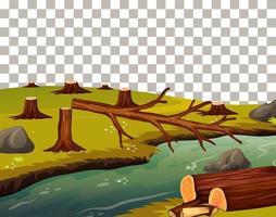 couper des arbres au bord de la rivière