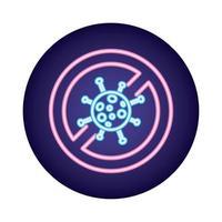 Symbole de refus de particule virale covid19 dans un style néon