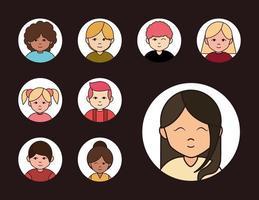 ensemble d & # 39; icônes d & # 39; avatar de personnes diverses vecteur