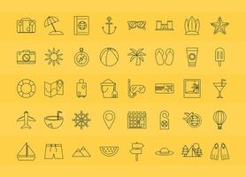 jeu d'icônes de voyage et de tourisme vecteur