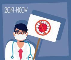 médecin avec masque facial et bannière de protestation covid-19 vecteur